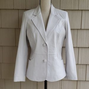 bagatelle white leather woven blazer jacket XS